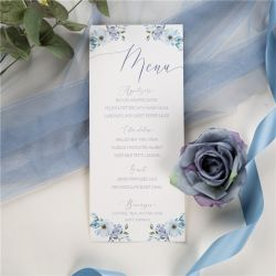 french blue and periwinkle watercolor flower wedding menu cards SWPI037m
