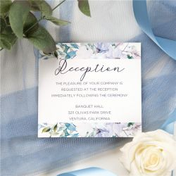 french blue and periwinkle watercolor flower wedding reception card SWPI036d