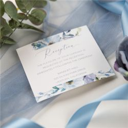 french blue and periwinkle watercolor flower wedding reception cards SWPI037d