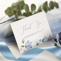 french blue and periwinkle watercolor flower wedding thank you cards SWPI037t