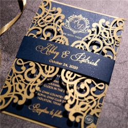 gold and navy blue foil stamped laser cut wedding invitation SWWS123