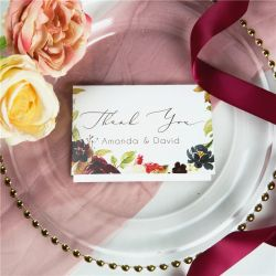 marsala peach and navy flower bloom wedding thank you cards SWPI049t