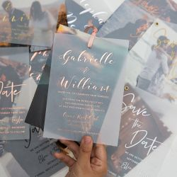 modern custom photo wedding invitation with rose gold/gold/silver foil vellum paper layered SWVL001