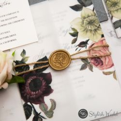 moody burgundy and blush floral vellum pocket wedding invitation rope with wax seal SWPI117