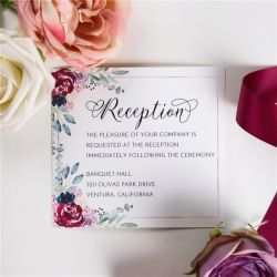 navy and raspberry floral wedding reception cards SWPI032d