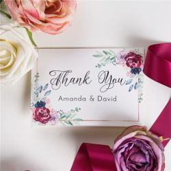 navy and raspberry floral wedding thank you cards SWPI032t