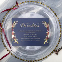 navy blue and marsala floral direction card SWPI004f