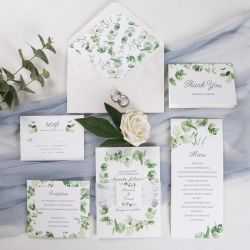 refreshing eucalyptus wedding invitation with vellum paper belly band and tag SWPI008