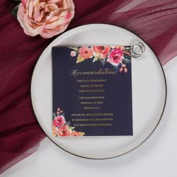 romantic navy blue and floral coral accommodation card SWPI014a