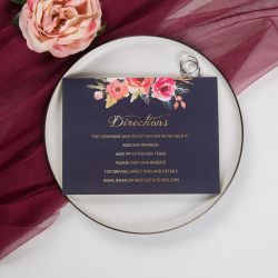 romantic navy blue and floral coral direction card SWPI014f