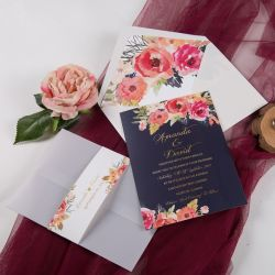 romantic navy blue and floral coral wedding invitation with vellum paper pocket and belly band SWPI014