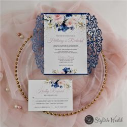 romantic navy blue and pink floral laser cut wedding invitations SWWS125