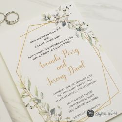refreshing sage green gold frame wedding invitation with vellum wrap and wax seal SWPI126