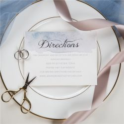 shades of dusty blue watercolor silver foil wedding direction cards SWFI001f