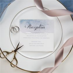 shades of dusty blue watercolor silver foil wedding reception cards SWFI001d