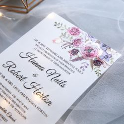 Jean's bouquet - pink and purple floral UV printed wedding invitation on Vellum paper SWUV011