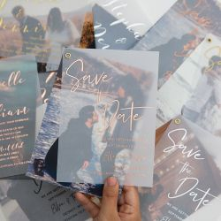 Simple modern foil-pressed vellum save the date card with your photo SWTD001