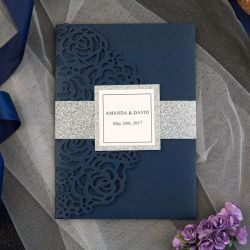 luxury navy blue and silver glitter laser cut pocket wedding invitations with glitter belly band and tag SWWS068