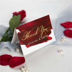 wine and gold watercolor wedding thank you card SWPI051t